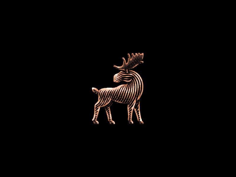 Moose illustration antler animal etching logo design logo