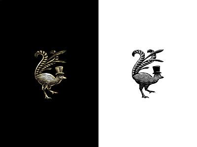Lyrebird illustration brand feathers hat gold animal bird etching logo