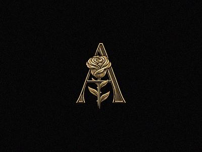 Rose monogram gold illustration logo design graphic designer logo