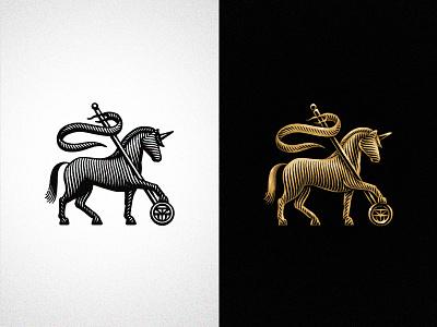 Unicorn branding and identity branding design branding monogram etching gold illustration graphic designer logo