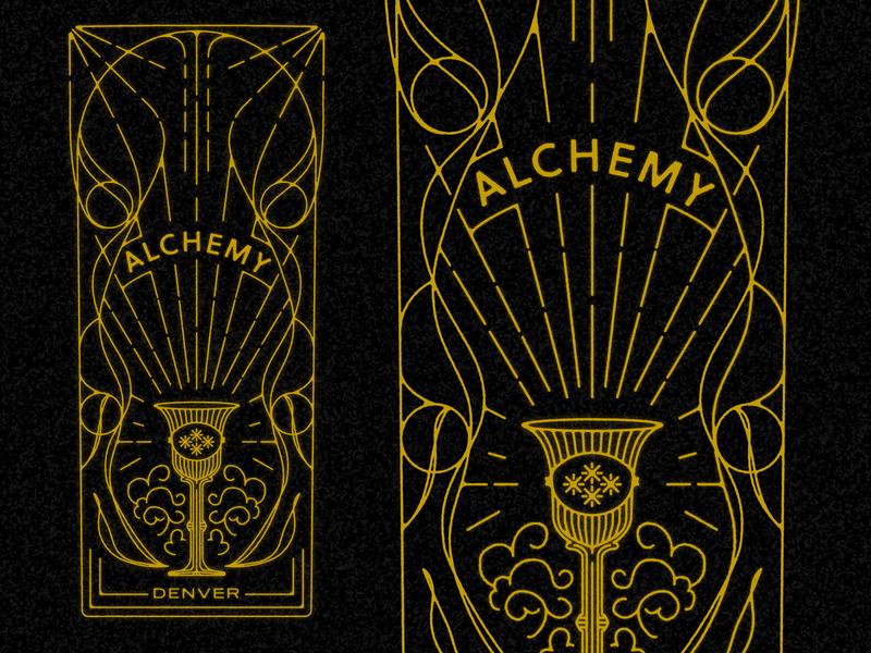 Chalice Illustration foodtruck food truck denver occult esoteric alchemy goblet chalice line work linework ornamentation art nouveau art deco