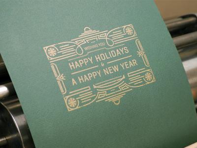 Happy Holidays Card print card holiday art nouveau art deco victorian illustration typography metallic letterpress
