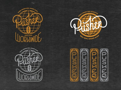 Pusher Process logos branding bicycles typography lettering hand lettering vintage badges bikes bmx art deco