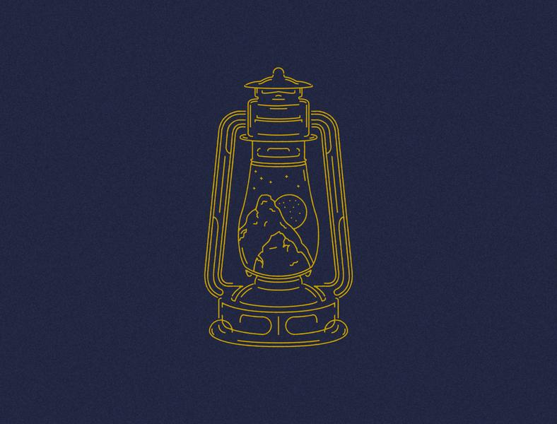 Lantern Illustration gold esoteric retro food restaurant food truck colorado flash vector illustration illustration vintage ornamentation moon mountains tattoo vector lantern line work