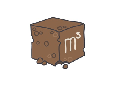m3 cube square meter brown turf illustration simple