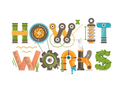How It Works flat design illustration school graphics info vector letters technology science concept education