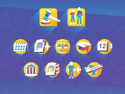 Smooth Icons legal procedure government paper law illustration vector icons