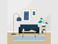 Free living room flat interior design background