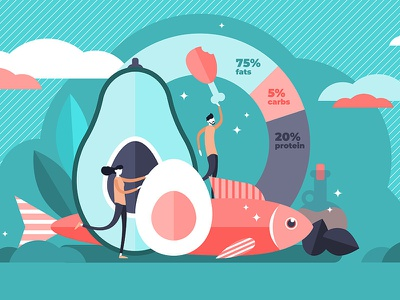 Keto Diet Concept weight loss healthy food health diet keto illustration vector concept flat