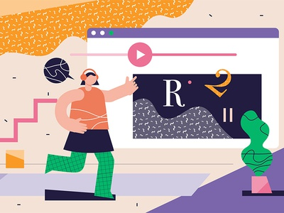 Online Learning interactive video flat illustration vector modern screen person abstract education tutorial course learning online