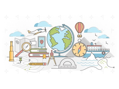 Geography concept demographics sailing course education earth flat atlas global continent land abstract concept world cartography country travel map vector illustration geography