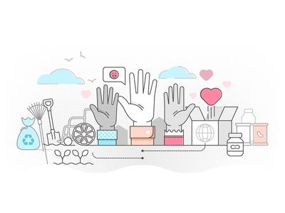 Charity volunteering concept