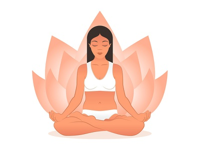 Free Yoga Meditation Female Vector balance focus chakra mindfulness spiritual relaxation healthy lotus body fitness element art flower indian health design meditation illustration vector yoga
