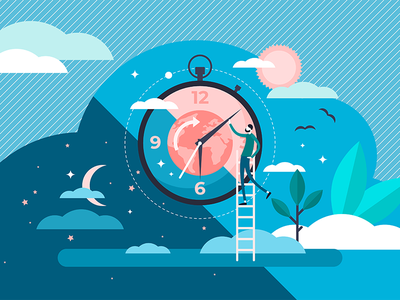 Day Night Cycle evening morning weather nature science graphic planet concept sun daily clock rhythm sleep time vector illustration cycle day night