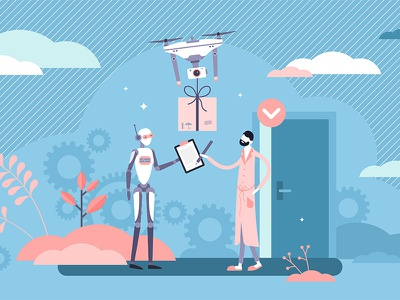 Robot Delivery drone e-commerce delivery app automated robot retail commercial logistic shipment package box concept flat service business illustration vector shipping delivery