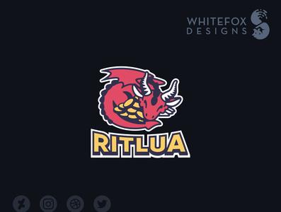 Ritlua Logo dragon hoard gold branding design cute vector logo
