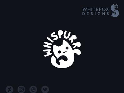 Whispurr Logo funny feline cat ghost branding design vector cute logo