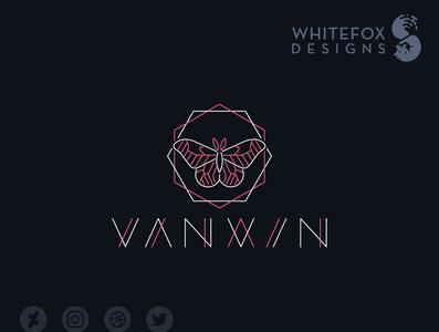 vanxin Logo vaporwave insect butterfly nature branding design vector logo