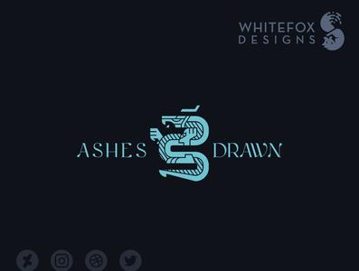 Ashes Drawn Logo dragon vector fantasy branding design logo