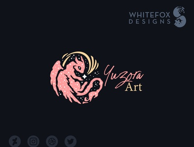 Yuzora Art Logo comet galaxy stars space dragon fantasy vector logo