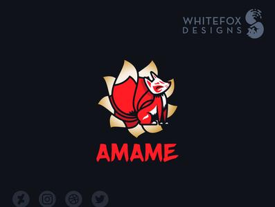 Amame Logo branding fantasy sun asian fox kitsune vector logo