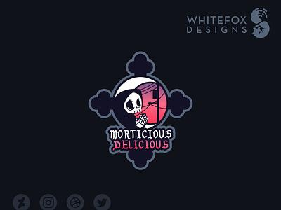 Morticious Delicious Logo sunset fantasy grim reaper moon death grimreaper branding vector logo