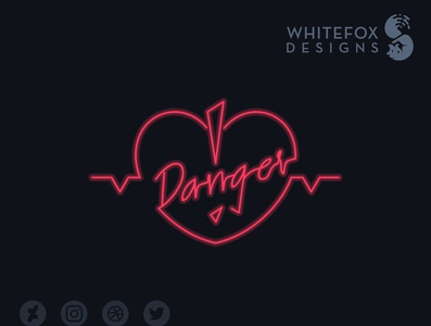 Danger Logo neon light neon danger heart heartbeat vector branding logo