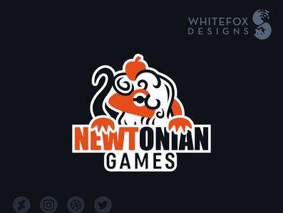 Newtonian Games Logo newton newt nature branding design wild cute vector logo