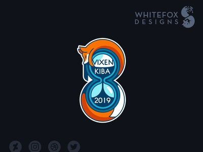 Vixenkiba Logo hourglass fox logo wild nature branding design vector