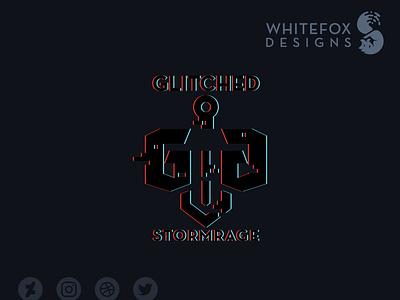 Glitched Guild Logo glitch sword fantasy branding design vector logo