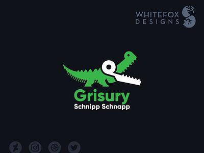 Grisury Schnipp Schnapp Logo scissors crocodile wild nature branding design vector cute logo