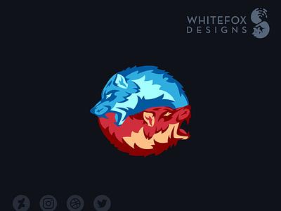 Wolves Destiny Logo duality yinyang wolf dog nature wild branding design vector logo