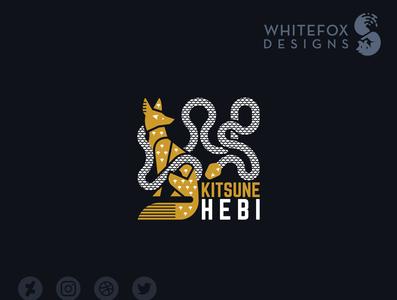 KitsuneHebi Logo nature wild egyptian fox snake branding design vector logo