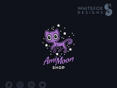 Ami Moon Shop Logo stars feline cat funny branding design vector cute logo