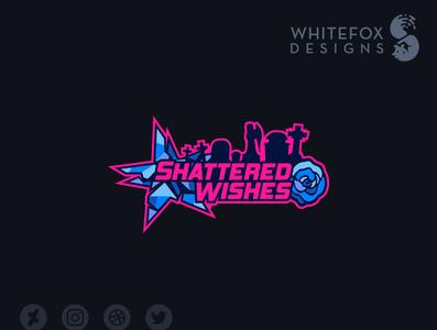 Shattered Wishes Logo cemetery rose tombstones shattered star branding design vector logo