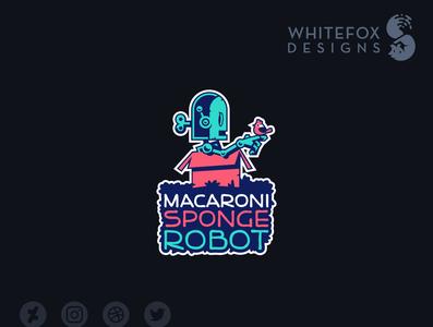 Macaroni Sponge Robot Logo scifi branding logo design vector cute robot bird