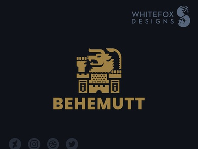 BEHEMUTT Logo crest behemoth monster castle fantasy branding design vector logo