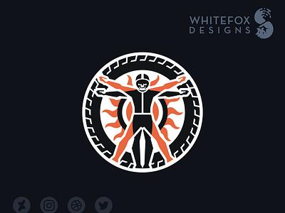Vitrubian-man skull rider vitrubian identity design graphic design vector design branding logo