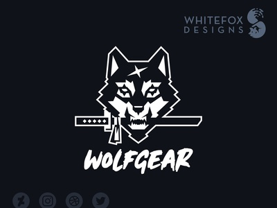 WOLFGEAR ninja sword wolf cool wild branding design identity design logo design logo graphic design
