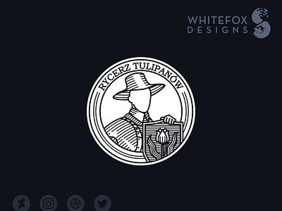 Knight of Tulips stamp crest emblem shield tulip flower knight identity design graphic design branding design vector logo