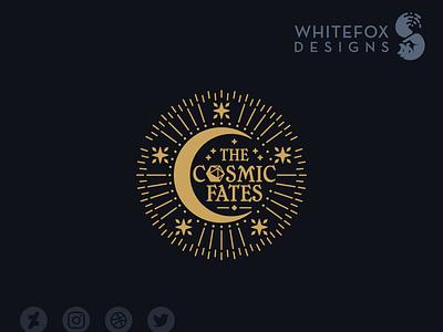 The Cosmic Fates cosmic dice space moon identity design branding design vector logo graphic design