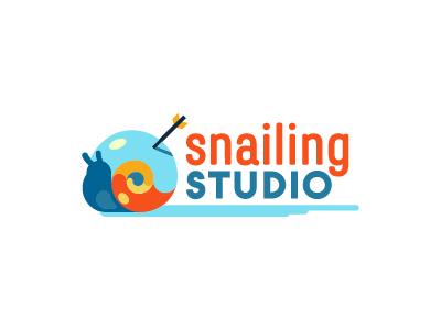Snailing Studio logo shell colorful fun games videogames rpg arrow snail