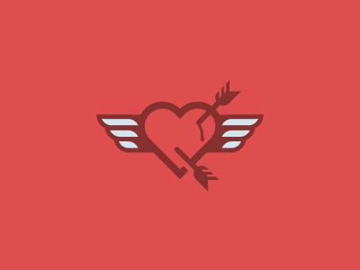 Heart Logo love bleeding wings arrow heart