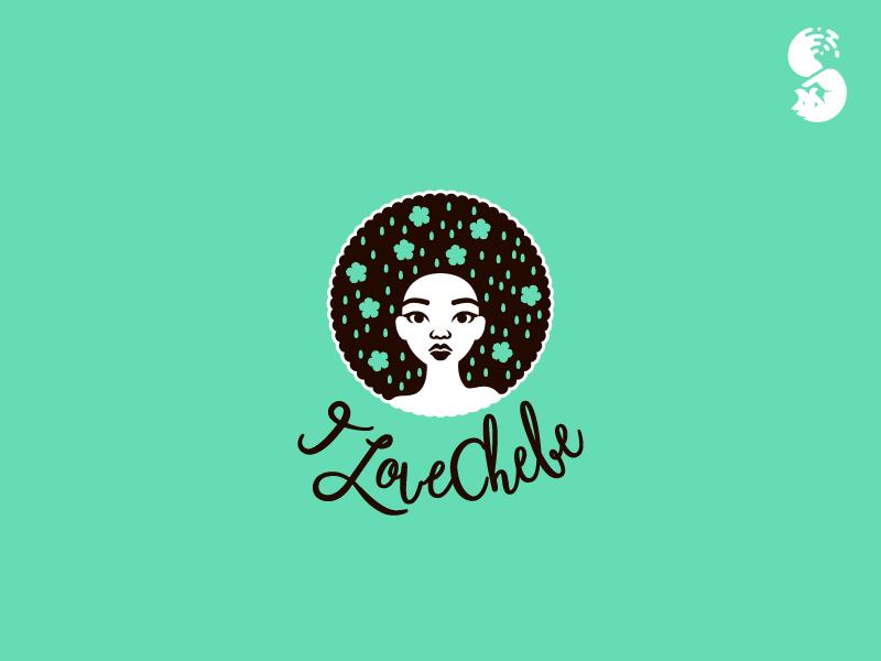 Ilovechebe Logo logo nature flowers hair female