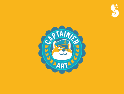 Captainier Art Logo cute funny badge captain inu shiba logo dog shibainu