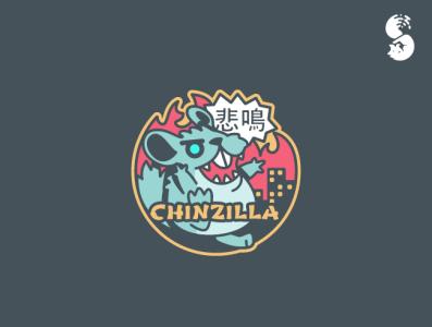 CHINZILLA Logo giant monster zilla chinchilla monster vector funny wild cute