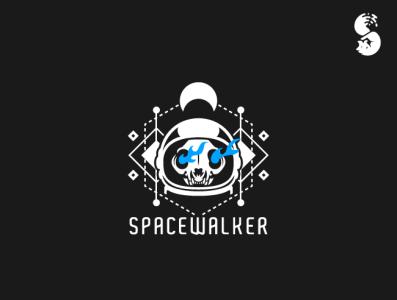 Spacewalker Logo branding vector symbolic moon flames skull astronaut helmet space cat logo
