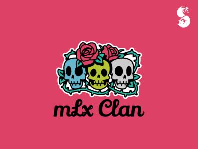 mLx Clan Logo vector design branding thorns roses skull nature cute logo