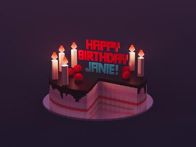 Voxel cake birthday cake 3d art 3d magicavoxel pixel art voxel art voxel