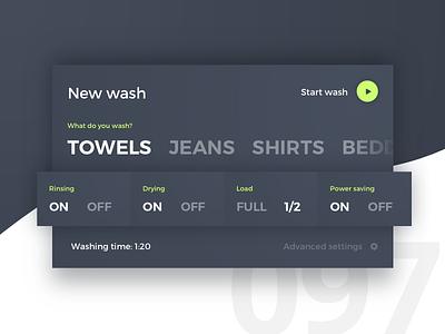Day 97 - Washing Machine UI home control washing machine 100 day challenge dailyui user interface ui ux design challenge